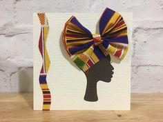 African headwrap card african woman in headwrap bow card African Fabric, African Cake, American Card, African Crafts, African Accessories, Fabric Cards, Deco Mesh Wreaths, Creative Cards, Greeting Cards Handmade