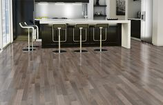 This modern kitchen has been created with Lauzon Decozone. The perfect tool to test hardwood floorings. Discover our Smoky Grey hardwood flooring. A FSC-Certified Hard Maple hardwood flooring from the Essential Collection. Modern Flooring, Kitchen Flooring, Natural Flooring, Hardwood Floors, Engineered Flooring, Home, House Flooring, Urban Interiors, Home Decor