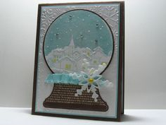 beautiful winter card: Snowing Village Snowglobe by cardrageous (Robin) ... Started with snow globe cut with a Cricut file ... stamped the village ... added glitter and embellishments ... delightful!!!