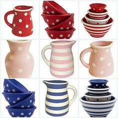 I love pitchers, bowls, and polka dots! Kitchen Decor, Kitchen Stuff, Connect The Dots, Cute Love, Decoration, All The Colors, Gingham, Tea Pots, Chevron