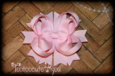 Light Pink Hair Bow  4 inch  Boutique Hair Bow  by tootoocute4you