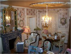 View album on Yandex. Miniature Kitchen, Drawing Room, Shabby Chic, Chandelier, Ceiling Lights, Living Room, The Originals, Dollhouses, Kitchens