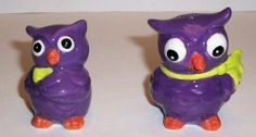 """ABC Products"" - Primitive style ~ Set of Ceramic - Wise Old Owls - Salt and Pepper Shakers (Purple Glazed Finish) by Cuttent, http://www.amazon.com/dp/B009PF3Y7W/ref=cm_sw_r_pi_dp_ifROqb1YJFJNF"