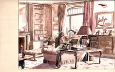 Mita Corsini Bland watercolor of a living room in an Upper West Side apt
