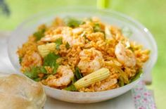 225 calories/5g fat per portion Prawns and rice is a simple combination - but it doesn't have to be boring! This recipe packs it with flavour by adding chilli, paprika and sun-dried tomato paste.Get the recipe: Zingy rice and prawns