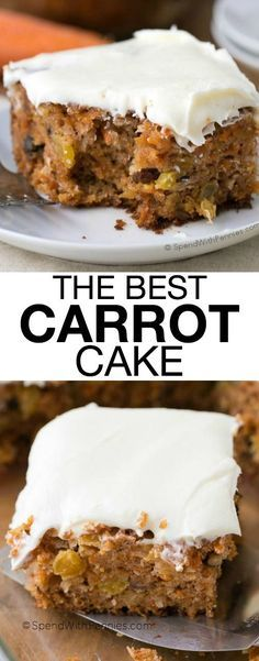 The Best Carrot Cake is one of my most requested dessert recipes of all time. It's quick, incredibly moist, and homemade. This cake fully loaded with pineapple, coconut, walnuts and raisins and all topped off with cream cheese frosting. If you like carrot cake, you are going to love this easy, from scratch recipe!