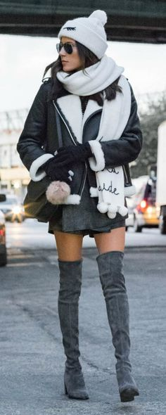 Christine Andrew + cosy and casual + winter outfit + thigh high suede boots + leather shearling coat + hat and scarf combination + love this style!   Coat: Kate Spade, Boots: Stuart Weitzman.