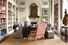 Sunlit French Library - ELLEDecor.com