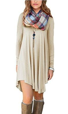 We've been at it again: building a great selection of products like POSESHE Women's L..., available now at http://puredesigntees.com/products/poseshe-womens-long-sleeve-swing-loose-flowy-casual-tunic-shirt-mini-dress-beige-s?utm_campaign=social_autopilot&utm_source=pin&utm_medium=pin.