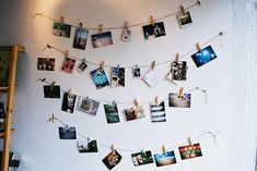 DIY Picture Wall - use clothespins! Great for room decor, especially in a dorm room if you want lots of photos of fam/friends Tumblr Wall Decor, Picture Wall, Photo Wall, Picture Ideas, Images Murales, Photo Polaroid, Polaroid Cameras, Decoration Photo, Wedding Decoration