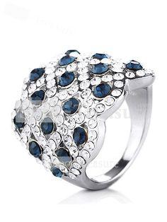 Elegant Platinum-plating/Alloy/Swarovski Crystal Diamond Rings ...