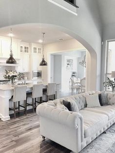 Gray and White Living Room Furniture. Gray and White Living Room Furniture. Light Gray and White Sitting Room for Beach House Living Room Kitchen, My Living Room, Living Room Decor, Dining Rooms, Living Spaces, Sofa Living, Living Room Furniture, Kitchen Furniture, Furniture Layout