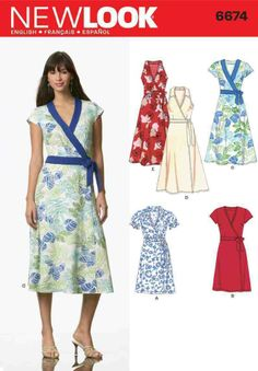 New Look 6674 Sewing Pattern Wrap Dress Sleeve Options Ladies Size 10-22