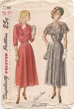 Misses' and Women's One-Piece Dress in Half Sizes: The V-necked bodice, gathered at the waistline, features soft front fullness released from a shaped shoulder yoke. The panelled skirt joins the front-buttoning bodice under a self or purchased belt. Style 1 has three-quarter sleeves gathered at the lower edge. In Style 2, cape sleeves finish the dress.