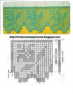 Mil ideias em croche                                                                                                                                                                                 Mais Filet Crochet, Crochet Borders, Crochet Stitches, Knit Crochet, Crochet Lace Collar, Knitting Patterns, Crochet Patterns, Crochet Curtains, Crochet Home