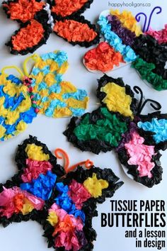Kids will love making butterflies with this classic tissue paper art process!  What a fun way for toddlers, preschoolers AND big kids to get arty in Springtime! - Happy Hooligans  via @https://www.pinterest.com/happyhooligans/