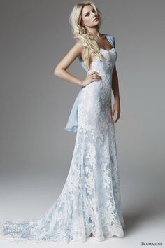 blumarine 2013 bridal collection blue white lace wedding dress straps