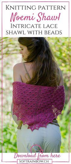 Lace shawl knitting pattern with beads - Noemi Shawl - click to download
