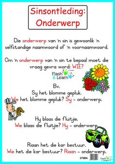 Sinsontleding: Onderwerp Writing Words, Academic Writing, Preschool Learning Activities, Kids Learning, Afrikaans Language, Afrikaanse Quotes, Teaching English Grammar, Teachers Aide, Kids Poems