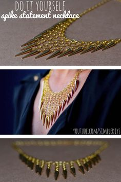 #DIY -- Learn how to make a spike statement necklace. Pin now, watch later! Super simple!