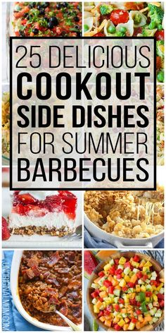 Delicious and easy cookout side dishes to take to a summer barbecue. Perfect for potlucks or backyard entertaining! Picnic Side Dishes, Summer Side Dishes, Side Dishes Easy, Camping Side Dishes, Side Dishes For Party, Potluck Recipes, Side Dish Recipes, Grilling Recipes, Barbecue Recipes