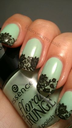 rainysunraynails: Nail Art Using New essence floral GRUNGE Nail Polish and Temporary Tattoos