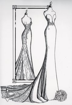 Wedding Dress Illustrations, Wedding Dress Sketches, Dress Design Sketches, Fashion Design Sketches, Wedding Dresses, Fashion Drawing Dresses, Custom Mirrors, Fashion Illustration Sketches, Fashion Art