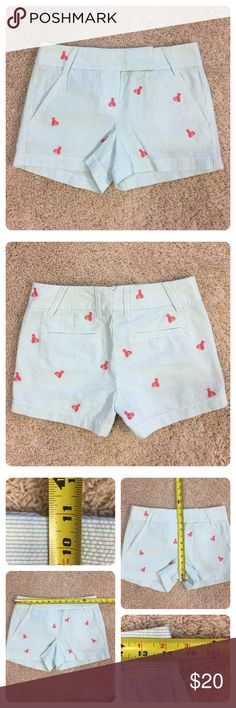 """NWT! J. Crew seersucker lobster shorts New with tags!  Factory 3"""" embroidered lobster seersucker short.  Cotton. City fit—our lowest rise. Sits just above hip. Zip fly. Back welt pockets. 3"""" inseam. Machine wash. J. Crew Shorts"""