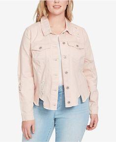 4f6fa085afc Jessica Simpson Trendy Plus Size Cotton Ripped Denim Jacket Distressed Jean  Jacket