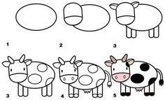 Children can learn to draw all their favourite farm animals with our fun step by step drawing lessons. Just print and copy! Easy Animal Drawings, Art Drawings For Kids, Doodle Drawings, Drawing For Kids, Cartoon Drawings, Easy Drawings, Art For Kids, Toddler Drawing, Cartoon Images