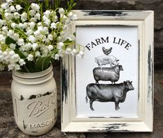 Framed picture via Toadstool Pond - Creature Comfort: Using Farmhouse Animals in Everyday Decor - Bygone Vintage