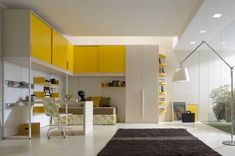 Bedroom Design Ideas in Cheerful Inspiration: Beautiful Teen Room Decor By Zalf With White And Yellow Cabinetry Over The Bed And Study Desk . Cool Teen Rooms, Awesome Bedrooms, Teen Room Decor, Bedroom Decor, Teenager Zimmer Design, Interior Design Yellow, Yellow Kids Rooms, Jugendschlafzimmer Designs, Design Ideas