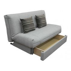 Stylish Sofa Bed Featuring Handy Storage Drawer. Fully Upholstered Quilt Cover Available in a Choice of Fabrics & Colours. Simple to Convert from Sofa to Bed.