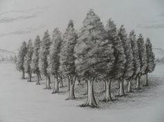 Estudio de perspectiva con un solo Punto de Fuga, mediante Dibujo de paisaje con árboles en Caricatura. Como Dibujar en Perspectiva con un solo Punto de Fuga...