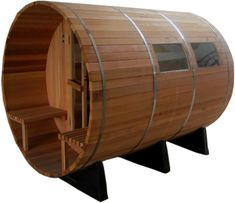 Order Your Western Red Cedar Outdoor Barrel Sauna w/ Porch & Sauna Heater Today! Limited Quantities Available! Call Now Wooden Boat Plans, Wooden Boats, Storage Building Plans, Barrel Sauna, Sauna Heater, Finnish Sauna, Outdoor Sauna, Boat Storage, Sauna Room