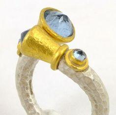 Aquamarine Crossover Ring by Poppy Dandiya
