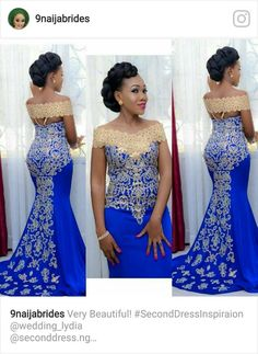 Elegant Long Evening Dress, Prom Mermaid Off Shoulder Gown with Gold Embroidery Floor Length African Women Blue Formal Prom Evening Gowns African Evening Dresses, African Wedding Dress, Latest African Fashion Dresses, African Dresses For Women, African Print Dresses, African Print Fashion, African Attire, African Women, Evening Gowns