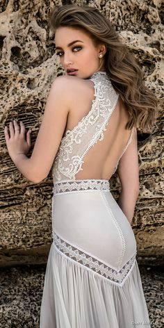 dany mizrachi 2018 bridal sleeveless high neck heavily embellished keyhole bodice flowy skirt bohemian sheath wedding dress keyhole back chapel train (5) zbv -- Dany Mizrachi 2018 Wedding Dresses