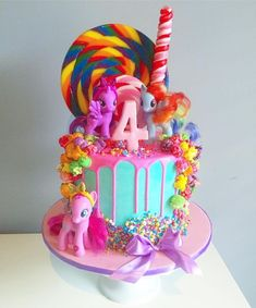 Graceful Ideas My Little Pony Cake And Marvelous Ponies Drip Cake Twilight Delicious Cakes - All Cakes My Little Pony Party, Bolo My Little Pony, Cumple My Little Pony, Little Girl Birthday Cakes, 4th Birthday Cakes, Birthday Ideas, Mlp Cake, Pinkie Pie Cake, Anniversaire My Little Pony