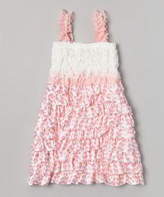Pink & White Zigzag Ruffle Dress - Infant, Toddler & Girls