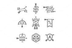 Arrow ribbon logo and emblem by Iconicbestiary on @creativemarket