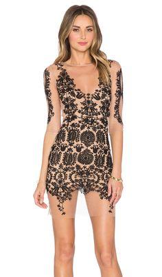 For Love & Lemons Lotus Mini Dress in Black & Nude   REVOLVE