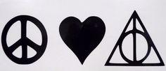Peace Love Deathly Hallows Harry Potter Car Window Vinyl Decal Sticker 10 Colors #TheStickerEmporium