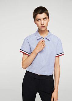 Stripe crop blouse | MANGO