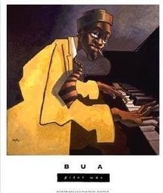 Justin Bua - the Piano Man. I still have this poster I bought in college in my guest room. Jazz Painting, Black Piano, American Graffiti, Jazz Art, Piano Man, African American Art, African Art, African Dance, Graffiti Art