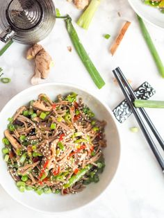 Super simple shiitake mushrooms and sugar snap pea vegan soba noodle stir fry. Gluten-Free and ready in 30 minutes. One of the easiest vegan soba noodle recipes ever for your Asian themed dinner nights. #stirfry #noodles #soba Rice Noodle Recipes, Stir Fry Recipes, Curry Recipes, Asian Recipes, Healthy Recipes, Healthy Dinners, Ethnic Recipes, Seafood Stir Fry, Sushi Roll Recipes