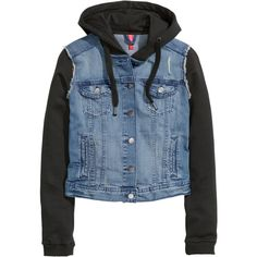 H&M Denim jacket with a hood ($40) ❤ liked on Polyvore featuring outerwear, jackets, tops, shirts, denim blue, blue jackets, hooded jean jackets, jean jacket, blue denim jacket and button jacket