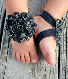 Baby Barefoot Sandals .. Navy Floral .. Toddler Sandals .. Newborn Sandals