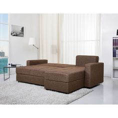 Denver White Double Cushion Storage Sectional Sofa Bed and Ottoman Set