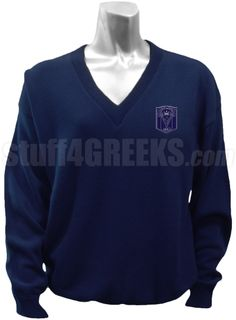 Navy blue Delta Tau Sigma v-neck sweater with the crest on the left breast.